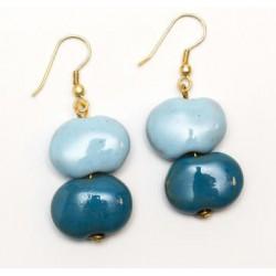 Örhänge Keramikpärlor, Blå