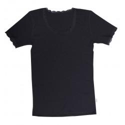 JOHA ull t-shirt med spets